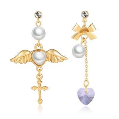 天使翅膀桃心十字架水晶玻璃不對稱黏式耳環
