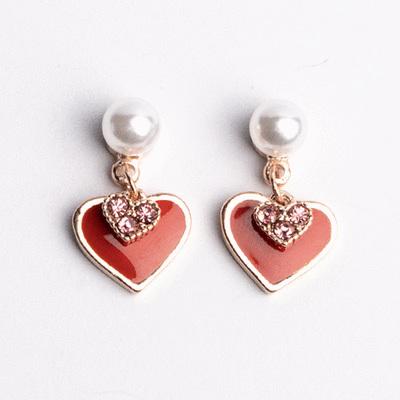 甜美心形珍珠 耳針/無耳洞黏貼式耳環