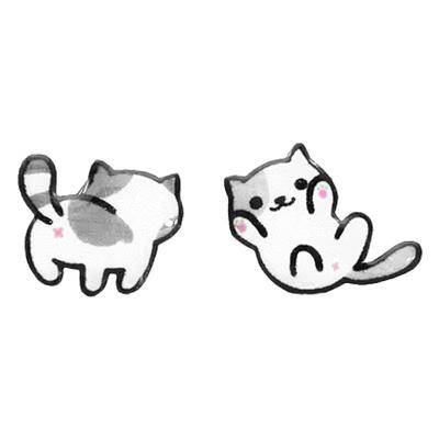 可愛萌寵小貓不對稱 無耳洞黏貼式耳環