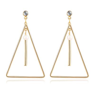 極簡簍空三角珍珠 耳針/黏式耳環