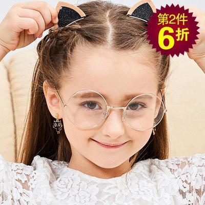 【第2件6折】呆萌卡通大眼貓 無耳洞黏貼式耳環