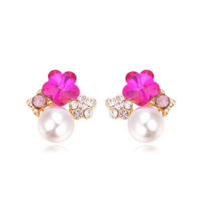 氣質梅花珍珠鑲鑽黏式耳環