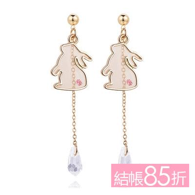 【結帳85折】清新透明可愛小兔 耳針/無耳洞黏貼式耳環