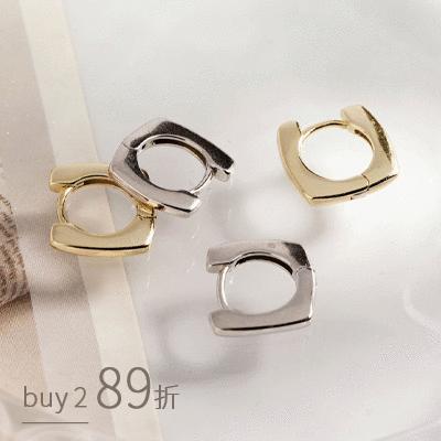 經典個性小款幾何耳扣型 耳針耳環[純銀]