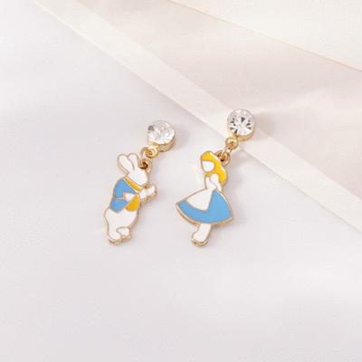 女孩與白兔先生不對稱 無耳洞黏貼式耳環
