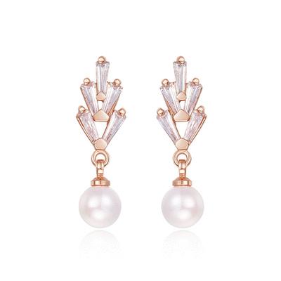 復古浪漫珍珠黏式耳環
