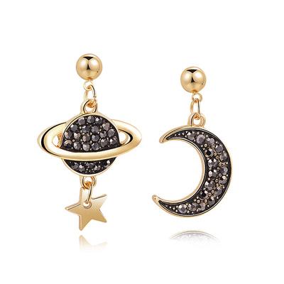 耀眼月亮宇宙星星 黏式耳環