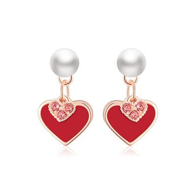 甜美心形珍珠 耳針/黏式耳環