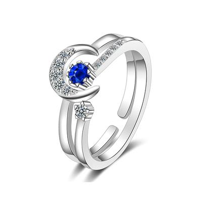 二合一星月鑲鑽指環