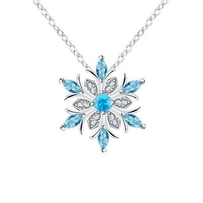 冷豔冰藍雪花合金項鍊