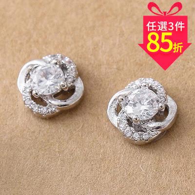 【專區3件★85折】典雅鑲鑽四葉草 耳針/黏式耳環