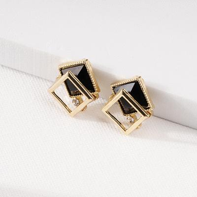 優雅深邃方形鑲鑽 耳針/無耳洞黏貼式耳環
