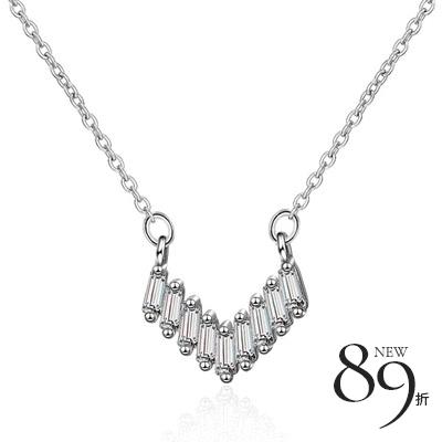 【新品89折】清新時尚幾何心形鑲鑽項鍊