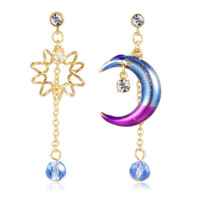 日系炫彩星星月亮 無耳洞黏貼式耳環