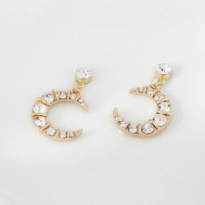 浪漫優雅鑲鑽弦月耳針/無耳洞黏貼式耳環