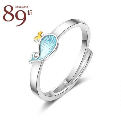 【結帳89折】可愛萌趣小藍鯨指環
