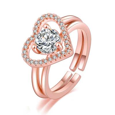 時尚二合一愛心鑲鑽指環