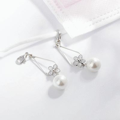 清晰氣質珍珠水滴花瓣口罩吊飾