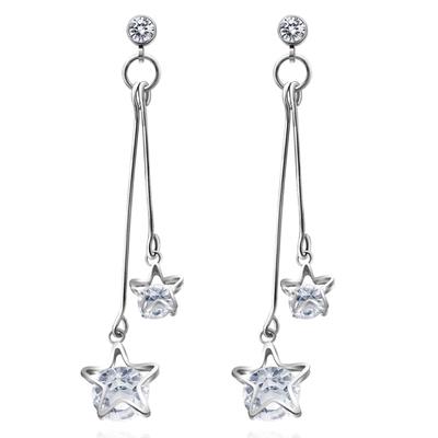 【專區3件85折】復古浪漫雙星亮鑽 耳針/無耳洞黏貼式耳環
