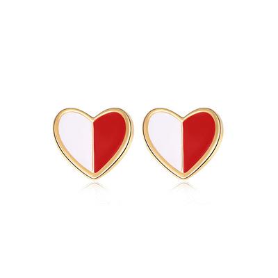 個性迷你拼色愛心 黏式耳環