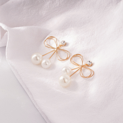獨特簍空蝴蝶結珍珠 無耳洞黏貼式耳環