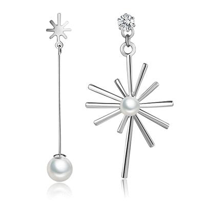 獨特耀眼珍珠太陽不對稱黏式耳環