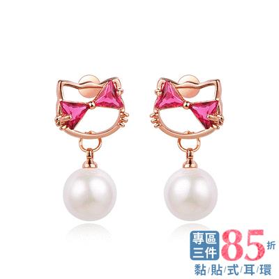【專區3件85折】日系小貓珍珠鑲鑽 耳針/無耳洞黏貼式耳環