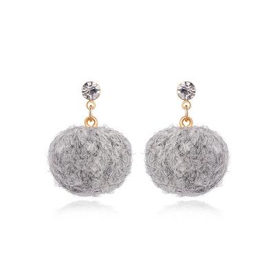 韓系秋冬雙色羊毛球黏式耳環