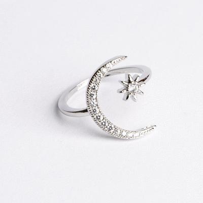 月牙星星鑲鑽開口戒指