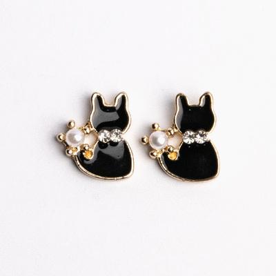 優雅珍珠小黑貓 耳針/無耳洞黏貼式耳環