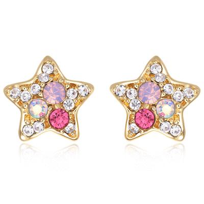 炫彩亮鑽可愛星星 無耳洞黏貼式耳環