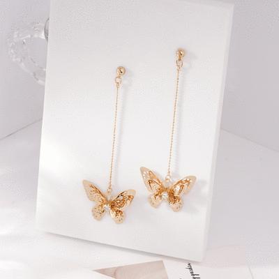 甜美氣質立體蝴蝶 耳針/無耳洞黏貼式耳環