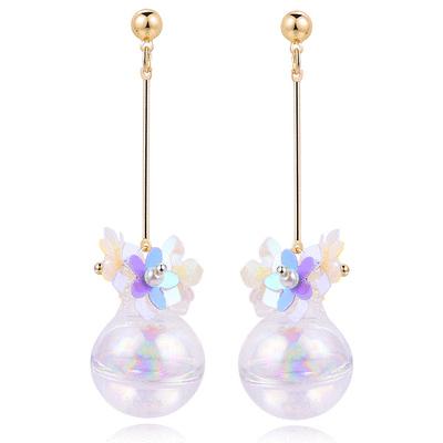 【玻璃:黏式耳環新手勿入】韓版玻璃球花朵 耳針/無耳洞黏貼式耳環
