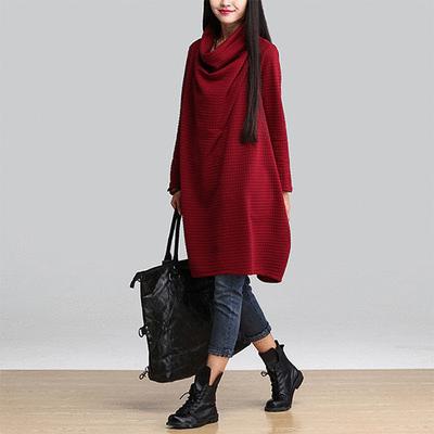 韓版寬鬆推領方格連衣裙