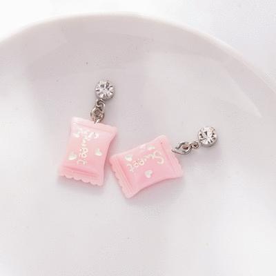 粉嫩可愛小糖果 無耳洞黏貼式耳環