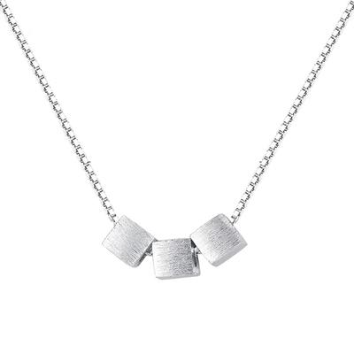 清新素雅拉絲質感方塊S925純銀項鍊