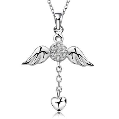 優雅天使翅膀心形吊墜鑽鍍銀項鍊