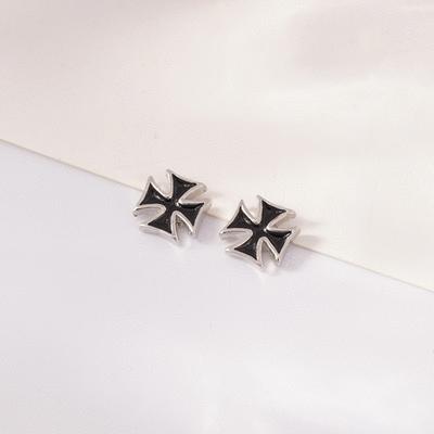 個性時尚黑 無耳洞黏貼式耳環