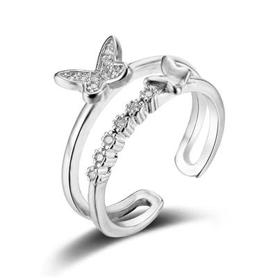 翩翩氣質蝴蝶亮鑽指環