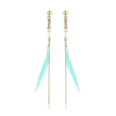 氣質簡約長款羽毛 耳針/黏式耳環