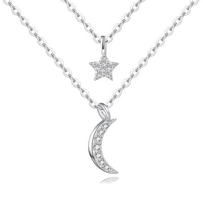 雙層星星月亮項鍊