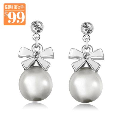 【第2件99元】粉嫩可愛蝴蝶結貓眼石 無耳洞黏貼式耳環