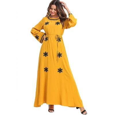 穆斯林復古刺繡連衣長裙