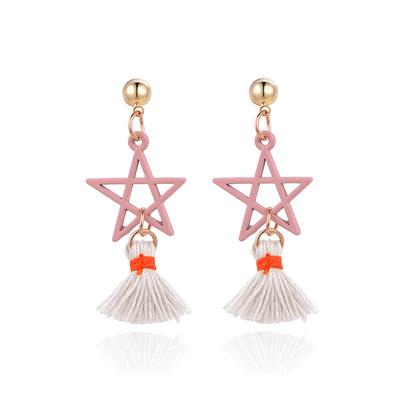 五角星星流蘇 耳針/黏式耳環