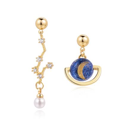 北斗星與行星月亮 耳針/黏式耳環