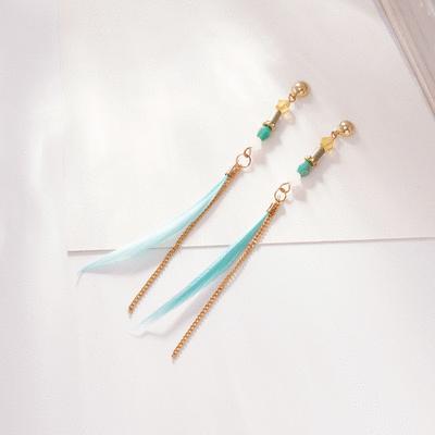 氣質簡約長款羽毛 耳針/無耳洞黏貼式耳環