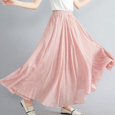 清新純色棉麻大擺長裙