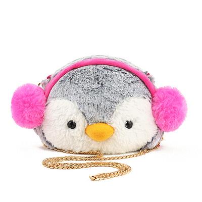 粉色耳機企鵝迷你鏈條側背包