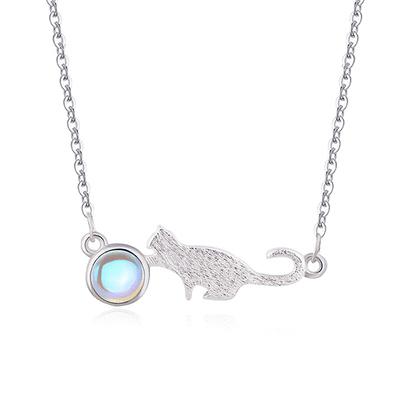 可愛小貓月光石合金項鍊