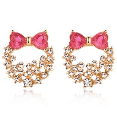 粉嫩蝴蝶結滿鑽花環 無耳洞黏貼式耳環